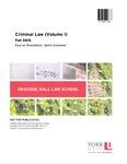 Criminal Law (Volume I): 2015-16 by Jamie Cameron