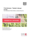 Trial Advocacy - Teacher's Manual: 2015-16 by Rachel Grinberg and Jonathan Rosenthal